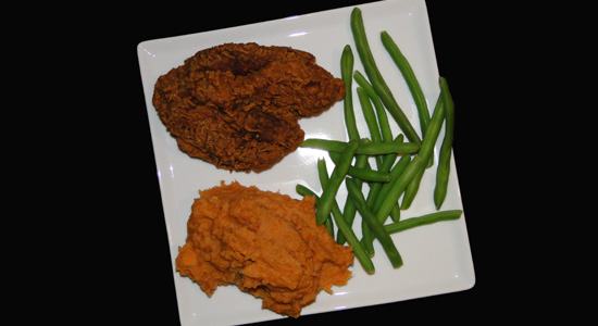 Fried Chicken, Green Beans and Sweet Potatoes