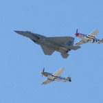 F-15 Eagle and P-51 Mustangs