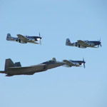 F-22 Raptor and P-51 Mustangs